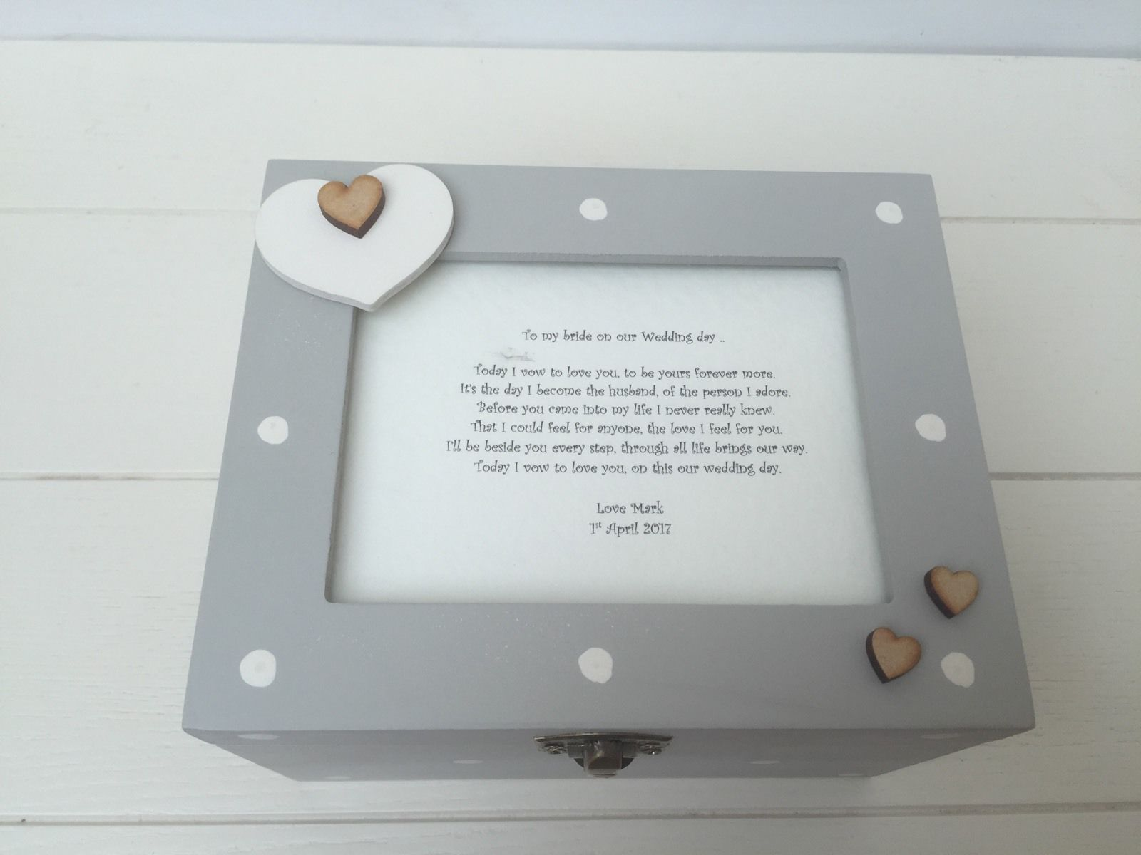 Gift To Husband On Wedding Day: Shabby Personalised Chic Gift From Husband For Bride